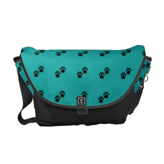 Dog Paws On Teal Courier Bag