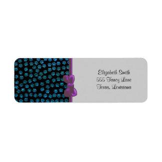 Dog Paws Paw-prints Glitter - Blue Black Custom Return Address Label