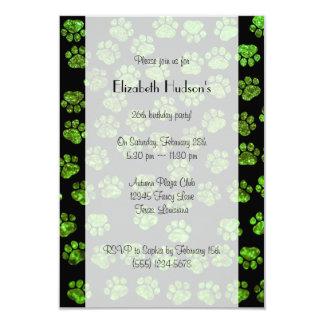 Dog Paws, Paw-prints, Glitter - Green Black Card