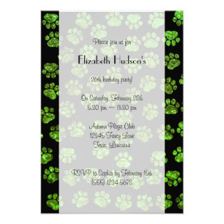 Dog Paws Paw-prints Glitter - Green Black Personalized Announcement