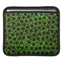 Dog Paws, Paw-prints, Glitter - Green Black iPad Sleeve