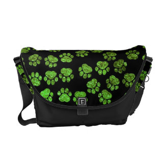 Dog Paws, Paw-prints, Glitter - Green Black Messenger Bag
