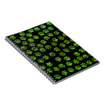 Dog Paws, Paw-prints, Glitter - Green Black Spiral Notebook