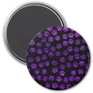 Dog Paws, Paw-prints, Glitter - Purple Black 3 Inch Round Magnet