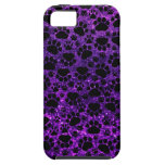 Dog Paws, Paw-prints, Glitter - Purple Black iPhone 5 Cover