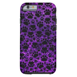 Dog Paws, Paw-prints, Glitter - Purple Black Tough iPhone 6 Case