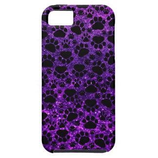 Dog Paws, Paw-prints, Glitter - Purple Black iPhone SE/5/5s Case
