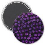 Dog Paws, Paw-prints, Glitter - Purple Black Refrigerator Magnet