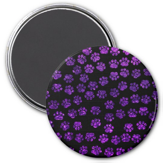 Dog Paws, Paw-prints, Glitter - Purple Black Magnet