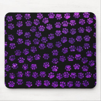 Dog Paws, Paw-prints, Glitter - Purple Black Mouse Pad