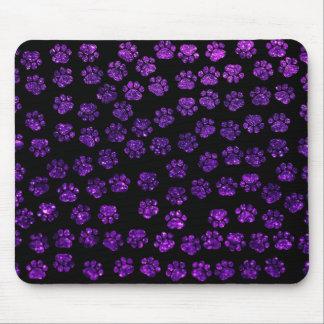 Dog Paws, Paw-prints, Glitter - Purple Black Mouse Pad
