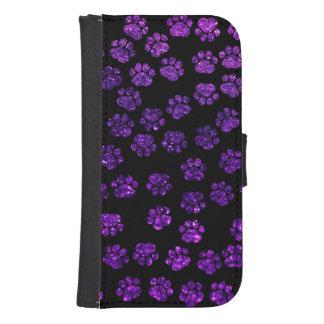 Dog Paws, Paw-prints, Glitter - Purple Black Phone Wallet