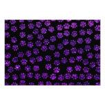 Dog Paws, Paw-prints, Glitter - Purple Black Photo Print