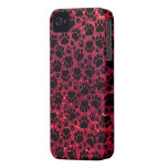 Dog Paws, Paw-prints, Glitter - Red Black iPhone 4 Case-Mate Cases