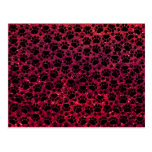 Dog Paws, Paw-prints, Glitter - Red Black Post Card