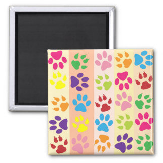 Dog Paws, Paw-prints, Stripes - Red Blue Green Magnet