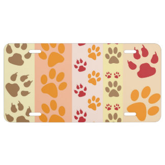 Dog Paws, Paw-prints, Stripes - Red Orange Brown License Plate
