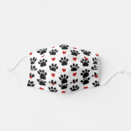 Dog Paws Traces Animal Paws Hearts _ Red Black Cloth Face Mask