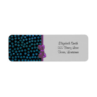Dog Paws, Traces, Paw-prints, Glitter - Blue Black Label