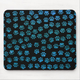 Dog Paws, Traces, Paw-prints, Glitter - Blue Black Mouse Pad