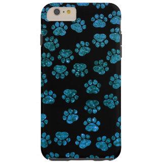 Dog Paws, Traces, Paw-prints, Glitter - Blue Black Tough iPhone 6 Plus Case