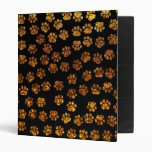 Dog Paws, Traces, Paw-prints, Glitter - Gold Black 3 Ring Binder