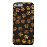 Dog Paws, Traces, Paw-prints, Glitter - Gold Black Barely There iPhone 6 Case