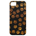 Dog Paws, Traces, Paw-prints, Glitter - Gold Black iPhone 5 Cover