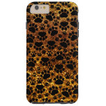 Dog Paws, Traces, Paw-prints, Glitter - Gold Black Tough iPhone 6 Plus Case