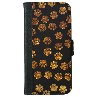 Dog Paws, Traces, Paw-prints, Glitter - Gold Black iPhone 6 Wallet Case