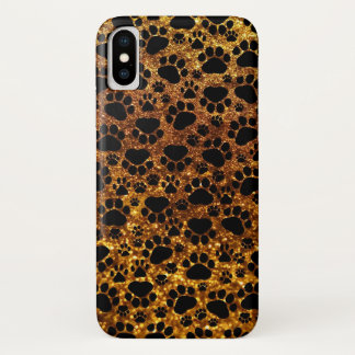 Dog Paws, Traces, Paw-prints, Glitter - Gold Black iPhone X Case