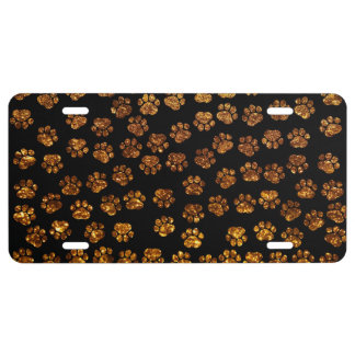 Dog Paws, Traces, Paw-prints, Glitter - Gold Black License Plate