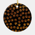 Dog Paws, Traces, Paw-prints, Glitter - Gold Black Christmas Tree Ornaments