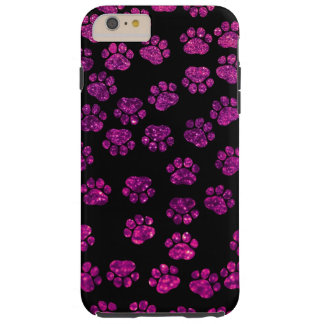 Dog Paws, Traces, Paw-prints, Glitter - Pink Black Tough iPhone 6 Plus Case