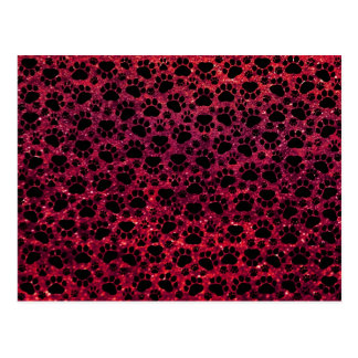 Dog Paws, Traces, Paw-prints, Glitter - Red Black Postcard