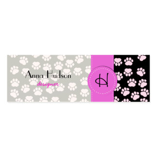 Dog Paws Traces Paw-prints - Pink Black Business Card Templates