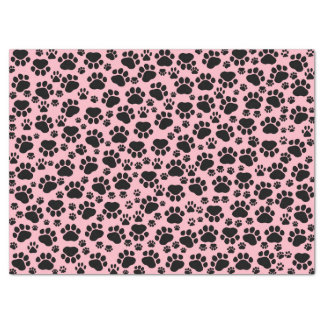 """Dog Paws, Traces, Paw-prints - Pink Black 17"""" X 23"""" Tissue Paper"""