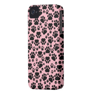 Dog Paws, Traces, Paw-prints - Pink Black iPhone 4 Case-Mate Cases