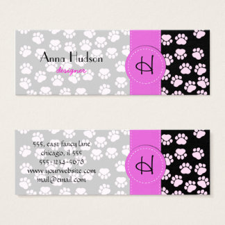 Dog Paws, Traces, Paw-prints - Pink Black Mini Business Card