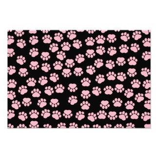 Dog Paws, Traces, Paw-prints - Pink Black Photo Print