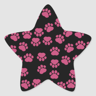 Dog Paws, Traces, Paw-prints - Pink Black Star Sticker