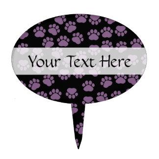 Dog Paws, Traces, Paw-prints - Purple Black Cake Pick