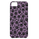 Dog Paws, Traces, Paw-prints - Purple Black Case For iPhone 5C