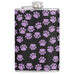 Dog Paws, Traces, Paw-prints - Purple Black Hip Flask