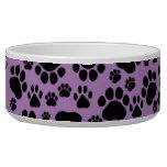 Dog Paws, Traces, Paw-prints - Purple Black Pet Food Bowl