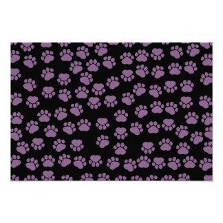 Dog Paws, Traces, Paw-prints - Purple Black Photo Print
