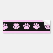 Dog Paws, Traces, Paw-prints, Stripes - Pink Black Bumper Stickers