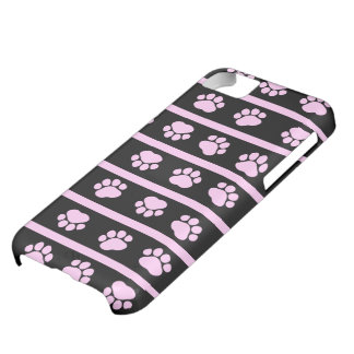 Dog Paws, Traces, Paw-prints, Stripes - Pink Black iPhone 5C Cover