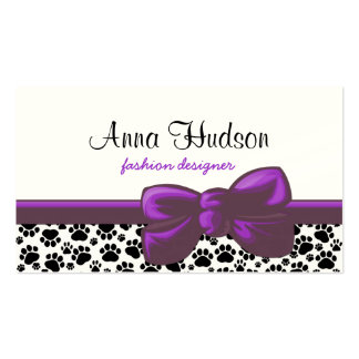 Dog Paws, Traces, Paw-prints - White Black Business Card