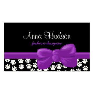 Dog Paws, Traces, Paw-prints - White Black Business Card Template